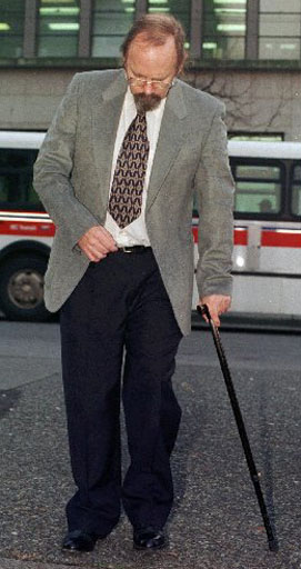 (ZVCR101)VANCOUVER,  Dec. 4--Conrad Sundman, a former officer of the Royal Canadian Sea Cadets arrives at the British Columbia provincial court in Vancouver Friday. Sundman has been charged with 32 counts including gross indecency and indecent assault for the alleged sexual abuse which took place when the victims were aged between 13 and 16. (CP PHOTO) 1998 (str - Nick Procaylo)np