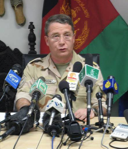 Maj. Gen. Ton van Loon, commander of NATO troops in regional command south, announces Tuesday March 6, 2007, in Kandahar Afghanistan, that British forces, supported by Canadian and coalition troops, have launched an offensive to drive the Taliban out of northern Helmand province. (CP PHOTO/ John Cotter)