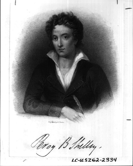 Portrait of English poet Percy Byssche Shelley. Also known as Percy Bysshe Shelley.