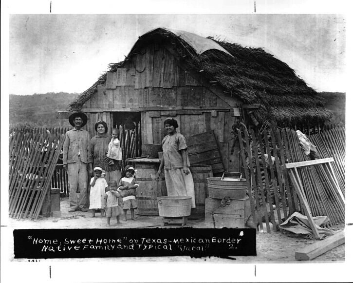 Native family and typical  Jacal  on Texas-Mexico border