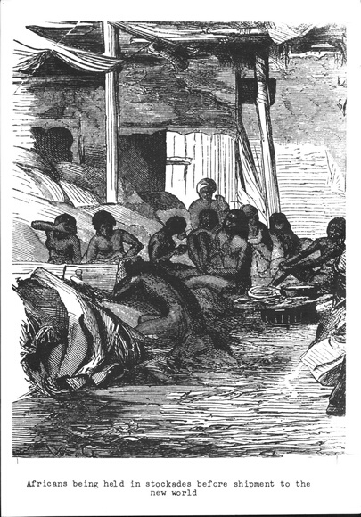Africans being held in stockades before shipment to the new world