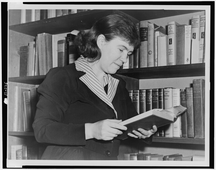 Photograph of American cultural anthropologist, Dr. Margaret Mead facing right, standing next to a book shelf, reading a book.