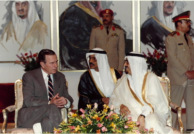 President Bush and King Fahd participate in an Arrival Ceremony in the Royal Pavilion in Saudi Arabia and discuss the situation in Iraq. November 21, 1990