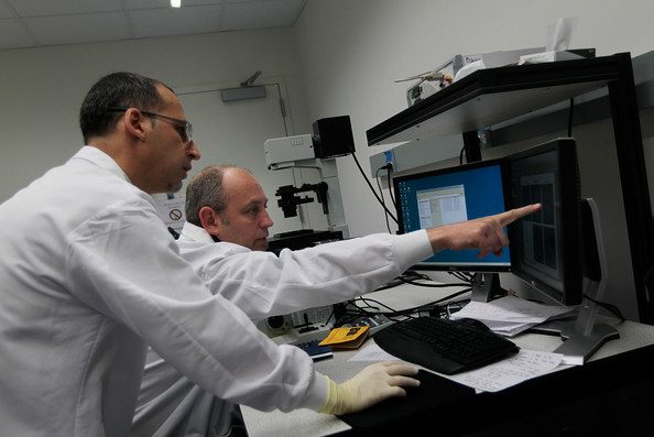 Aids Vaccine Research Continues In Brooklyn Lab: NEW YORK - MAY 21:  Adrian McDermott (C), director of immunology and vaccine discovery at the International AIDS Vaccine Initiative, points to screen of data with scientist Cesar Biggiano at the IAVI Brooklyn laboratory May 21, 2010 in New York.  Research into creating a AIDS vaccine continues at the Brooklyn outpost of IAVI, one of a consortium of laboratories around the world doing science in pursuit of goal.  Researchers at the lab published an important paper last year detailing a newly-discovered vulnerability on the surface of the HIV virus that causes AIDS, landmark work that could one day be crucial in creating a vaccine.     (Photo by Chris Hondros/Getty Images)
