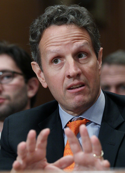 Geithner Testifies On TARP Before Congressional Oversight Panel: WASHINGTON - JUNE 22: Treasury Secretary Tim Geithner testifies during a Congressional Oversight Panel hearing about the Troubled Asset Relief Program (TARP) June 22, 2010 in Washington, DC. Geithner told Congress that taxpayers are recovering investments from the bailouts of financial institutions, but would likely lose money in the AIG rescue.   (Photo by Mark Wilson/Getty Images)