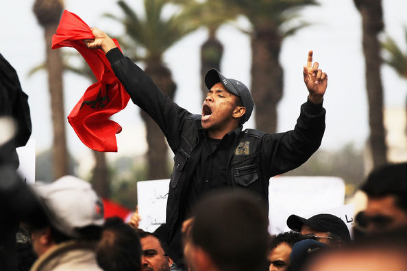 Moroccans Hold Protests For Political Reform: RABAT, MOROCCO - FEBRUARY 20:  Thousands of Moroccans demonstrate against the regime led by King Mohammed VI on February 20, 2011 in Rabat, Morocco. Responding to calls by the