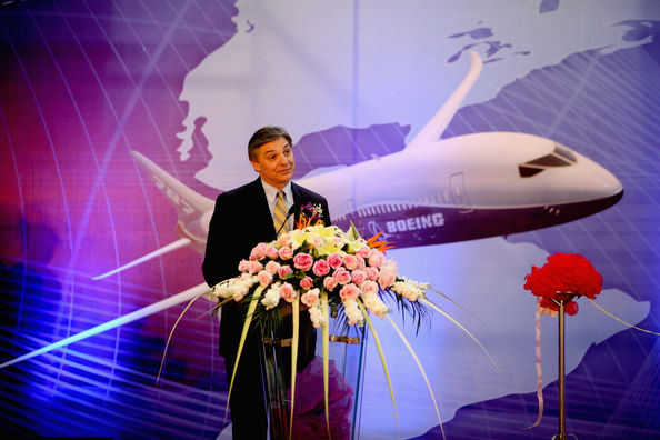 Boeing Opens New Facility In Tianjin: TIANJIN, CHINA - APRIL 18:  (CHINA OUT) Vice president and general manager of Supply Chain Management and Operations for Boeing Commercial Airplanes Ray Conner, speaks at the new facility opening ceremony of Boeing Tianjin Composites Co., Ltd on April 18, 2011 in Tianjin, China. Boeing Tianjin Composites Co., Ltd, a joint venture between Boeing and the Aviation Industries Corporation of China (AVIC), produces components and parts for all of Boeing's in-production programs including the 737, 747-8, 767, 777 and 787. The new facility will increase Boeing Tianjin Composites' production capacity by 60 percent by 2013.  (Photo by ChinaFotoPress/Getty Images)