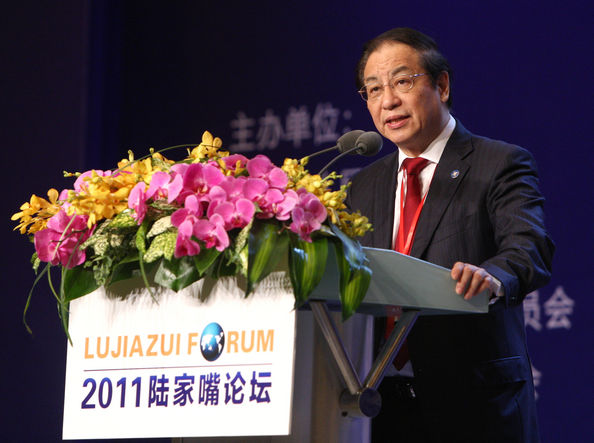 2011 Lujiazui Forum Opens In Shanghai: SHANGHAI, CHINA - MAY 20: (CHINA OUT) Liu Mingkang, chairman of China's Banking Regulatory Commission, speaks during the 2011 Lujiazui Forum at Pudong Shangri-La Hotel on May 20, 2011 in Shanghai, China. The two-day forum opened on May 20 in Shanghai, with the title of