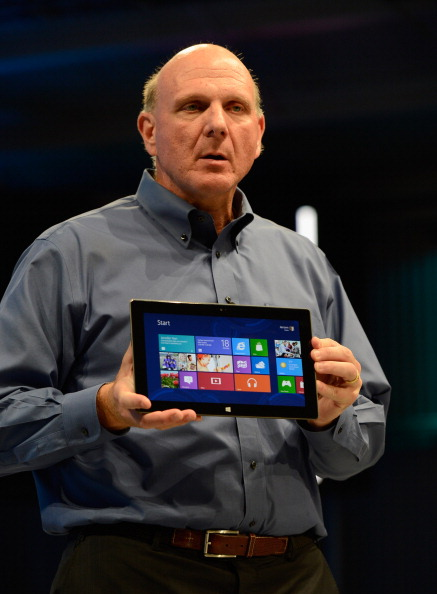Microsoft Announces Surface Tablet In Los Angeles: LOS ANGELES, CA - JUNE 18:  Microsoft CEO Steve Ballmer shows the new tablet called Surface during a news conference at Milk Studios on June 18, 2012 in Los Angeles, California.  The new Surface tablet utilizes a 10.6 inch screen with a cover that contains a full multitouch keyboard. (Photo by Kevork Djansezian/Getty Images)