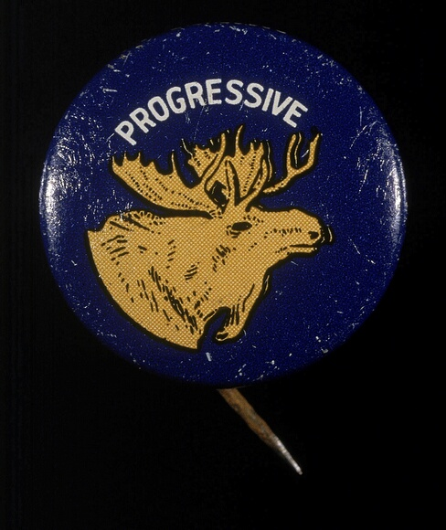 A campaign button for the Progressive party from the 1912 United States presidential election shows the head of the  Bull Moose, the mascot and alternate name for the party.  Theodore Roosevelt was the party candidate and lost to Democrat Woodrow Wilson, 1912.  (Photo by Blank Archives/Getty Images)
