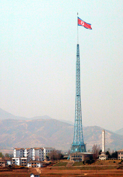 Talks To Resolve North Korean Nuclear Crisis To Begin In China PANMUNJOM, SOUTH KOREA - APRIL 16:  A North Korean flag flutters above the village of Gijungdong in the northern section of the demilitarized zone (DMZ), separating the two Koreas April 16, 2003 in Panmunjom, South Korea. U.S. officials said that U.S. President George W. Bush approved negotiations to begin with North Korea to discuss the nuclear standoff next week in Beijing, China.  (Photo by Chung Sung-Jun/Getty Images)  -- Image Date: 16/04/2003  -- Image Date: 16/04/2003