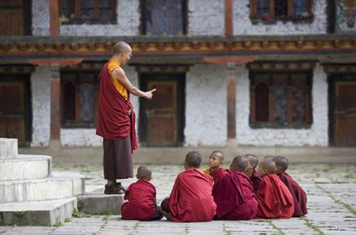 Bhutan, Bumthang, Karchu Dratsang Monastery, Buddhist Lama teaching