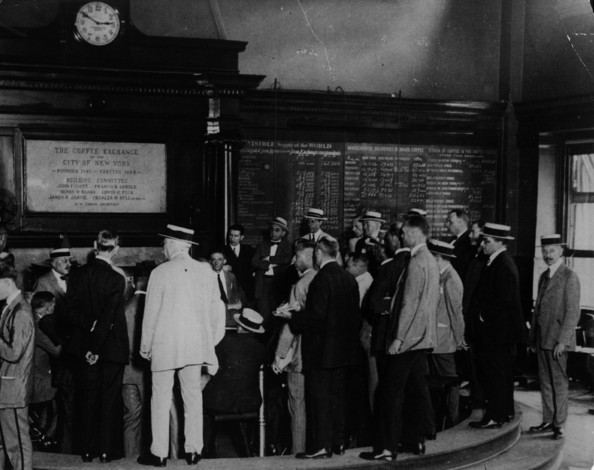 Coffee Exchange One of the first pictures permitted to be taken where Traders gather in New York's Coffee Exchange.   (Photo by Hulton Archive/Getty Images)  -- Image Date: 01/01/1920  -- Image Date: 01/01/1920