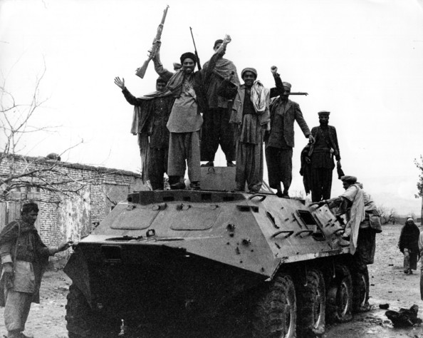 Afghan Guerrillas Jubilant Afghan guerrillas on a captured Russian armoured personnel carrier during the war between Afghanistan and the USSR.   (Photo by Peter Jouvenal/Getty Images)  -- Image Date: 01/04/1980  -- Image Date: 01/04/1980