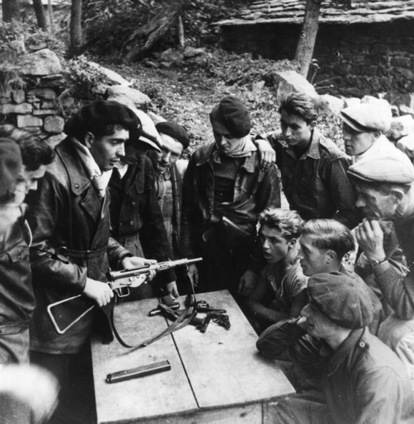 French Resistance Members of the Maquis, the French Resistance, study the mechanism and maintenance of weapons dropped by parachute in the Haute Loire. They include a Sten MK II, Ruby, Colt and Le Francois pistols and Colt and Bulldog revolvers.   (Photo by Keystone/Getty Images)  -- Image Date: 01/01/1940  -- Image Date: 01/01/1940