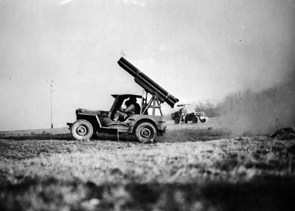 Rocket In Jeep A 4.5 multi-barrelled rocket mounted in a jeep in northern France during the Allied invasion.     (Photo by Hulton Archive/Getty Images)  -- Image Date: 01/01/1944  -- Image Date: 01/01/1944