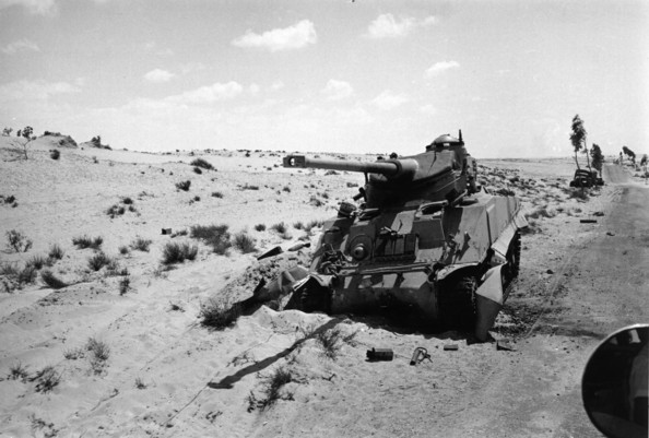Knocked Out Tank An Egyptian tank in the Sinai desert knocked out in an Israeli pre-emptive attack during the Six-Day War.   (Photo by Terry Fincher/Getty Images)  -- Image Date: 09/06/1967  -- Image Date: 09/06/1967