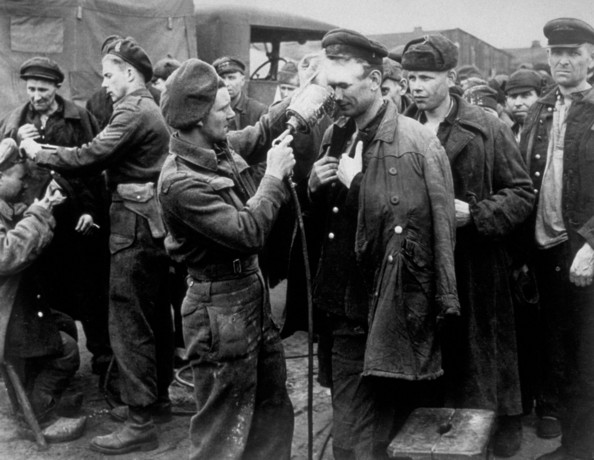 De-Lousing Canadian soldiers of a field hygiene section de-louse Russian POWs who have been released by advancing Canadians after two years imprisonment near the town of Friescythe.   (Photo by Keystone/Getty Images)  -- Image Date: 01/01/1945  -- Image Date: 01/01/1945
