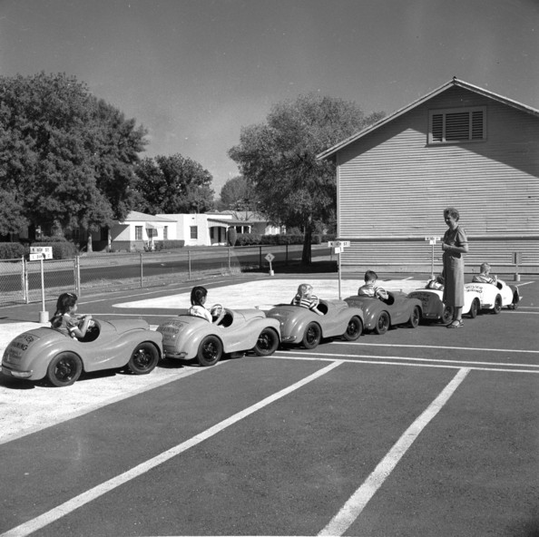 Driving Lesson Children at the Garfield Elementary School in Phoenix, Arizona, learning about traffic safety.   (Photo by Three Lions/Getty Images)  -- Image Date: 01/01/1955  -- Image Date: 01/01/1955