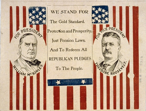 Vote Republican-A campaign poster supporting the Republican candidate for President, William McKinley (1843 - 1901) and his running mate Theodore Roosevelt (1858 - 1919).   (Photo by MPI/Getty Images)  -- Image Date: 01/01/1900  -- Image Date: 01/01/1900