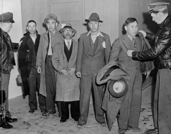 Japanese Aliens American police force with some Japanese aliens that have been rounded up to be taken into custody to prevent potential sabotage against the US during the war.   (Photo by Keystone/Getty Images)  -- Image Date: 01/01/1942  -- Image Date: 01/01/1942