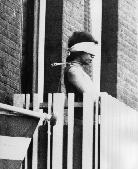 Blindfolded Hostage A blindfolded woman taken hostage in the Indonesian Consulate in Amsterdam by Moluccan terrorists who are pressurising the Dutch government to grant the South Moluccan Islands (Spice Islands) independence.   (Photo by Keystone/Getty Images)  -- Image Date: 05/12/1975  -- Image Date: 05/12/1975