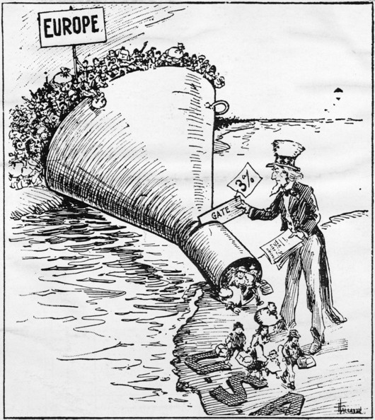 Uncle Sam's Quota-Uncle Sam putting the quota act in place, the act limits immigration to 3% of the number of foreign born nationals in the census of 1910   (Photo by MPI/Getty Images)  -- Image Date: 01/01/1921  -- Image Date: 01/01/1921