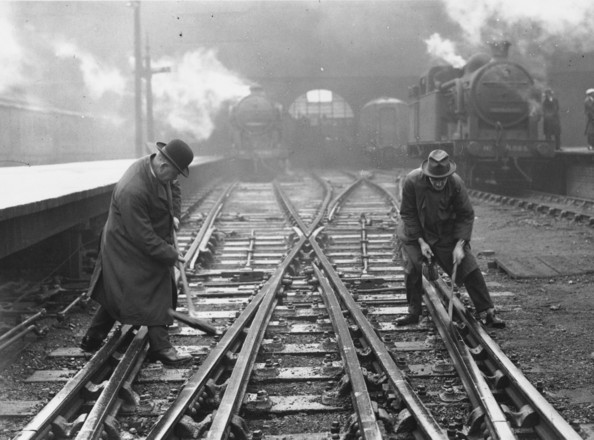 Strike Breakers Railway volunteers at work on railway track during the General Strike of 1926, in which trade union members from various key industries in Britain stopped work for a week in support of the miners, who were resisting the imposition of deteriorating working conditions.   (Photo by Central Press/Getty Images)  -- Image Date: 01/05/1926  -- Image Date: 01/05/1926