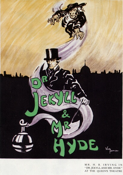 Jekyll And Hyde A magazine insertion advertising Henry Irving in 'Mr Jekyll and Mr Hyde' at the Queen's Theatre. London.   (Photo by Vera Hamilton/Getty Images)  -- Image Date: 01/05/1910  -- Image Date: 01/05/1910