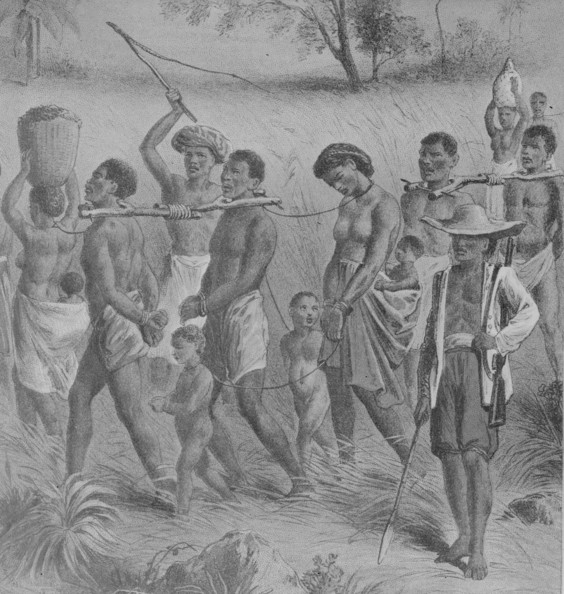 Slave Trade Shackled Africans being taken into slavery, circa 1700.   (Photo by Rischgitz/Getty Images)  -- Image Date: 02/01/1754  -- Image Date: 02/01/1754