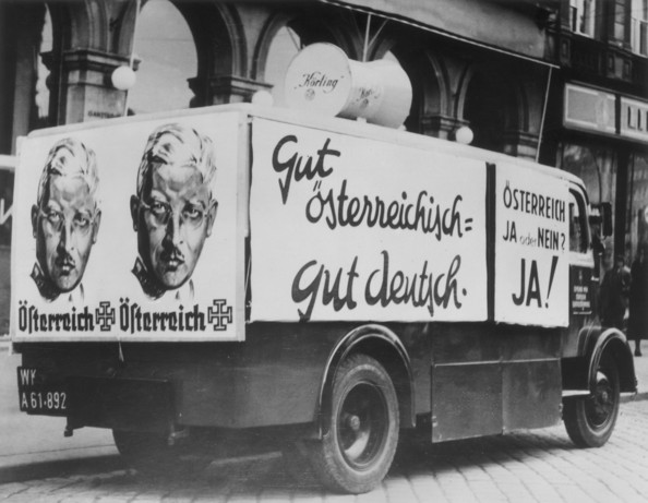 Austrian Invasion A mobile radio van which was to be used for urging Austrians to vote for Dr Kurt von Schuschnigg (1897 -1977) in the Austro-German plebiscite which was postponed following the arrival of German troops in Austria.   (Photo by Topical Press Agency/Getty Images)  -- Image Date: 01/01/1938  -- Image Date: 01/01/1938