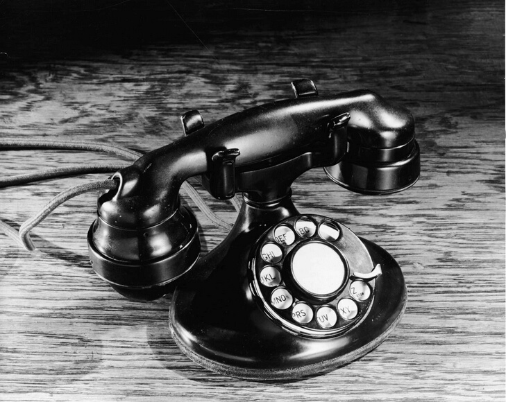 Still life of an old-fashioned black rotary telephone, 1930s. (Photo by Hulton Archive/Getty Images)