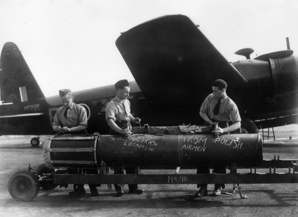 Poles Hit Back September 1943:  Polish airmen in Britain prepare to commemorate the 4th anniversary of the World War II invasion of Poland by increasing their attacks on the enemy. A giant mine waiting to be loaded onto a bomber at a Polish Bomber Station bears the chalk inscription 'From Polish Airmen'.  (Photo by Keystone Features/Getty Images)  -- Image Date: 01/09/1943  -- Image Date: 01/09/1943