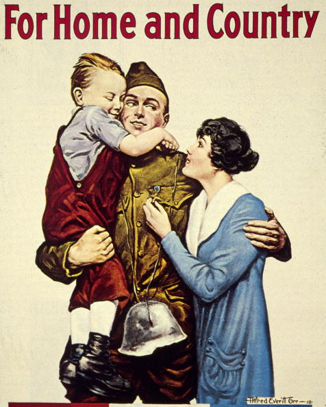1918:  A recruitment poster for the American forces during World War I.  (Photo by MPI/Getty Images)  -- Image Date: 1/1/1918  -- Image Date: 1/1/1918