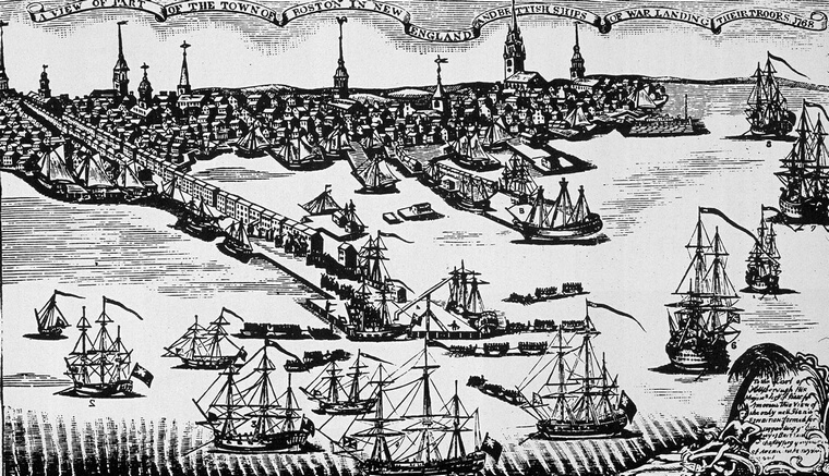 1768:  British naval ships arrive in Boston Harbour to restore order to the town following the colonial insurrection surrounding the Stamp Act of 1765.  (Photo by MPI/Getty Images)