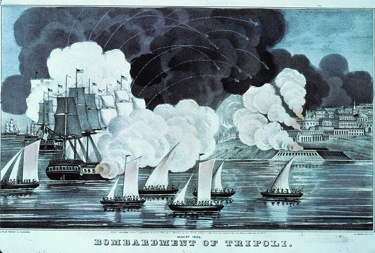 August 1804:  Tracers arc in the sky as ships of the US navy bombard Tripoli  in an action against a  ruler who supported the Tripolitan (Barbary) pirates. The pirates demanded protection money from all ships and the USA decided  to go to war to release their hold on the area.  (Photo by MPI/Getty Images)