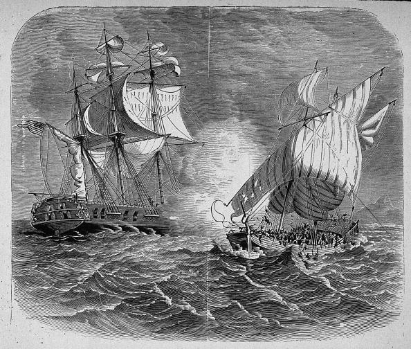 1799:  A US Navy warship captures an Algerian corsair in the war with Barbary (Tripolitan)  pirates. The pirates demanded protection money from all ships and the USA decided  to go to war to release their hold on the area.  (Photo by MPI/Getty Images)  -- Image Date: 1/1/1799  -- Image Date: 1/1/1799