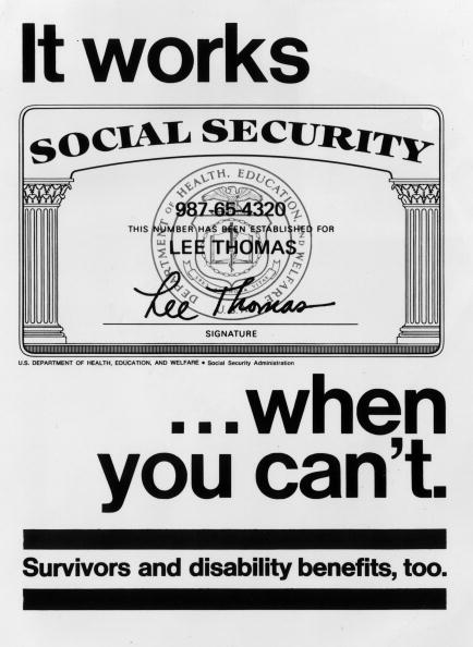 circa 1937:  A government poster advertising the benefits of the social security system.  (Photo by MPI/Getty Images)  -- Image Date: 1/1/1937  -- Image Date: 1/1/1937