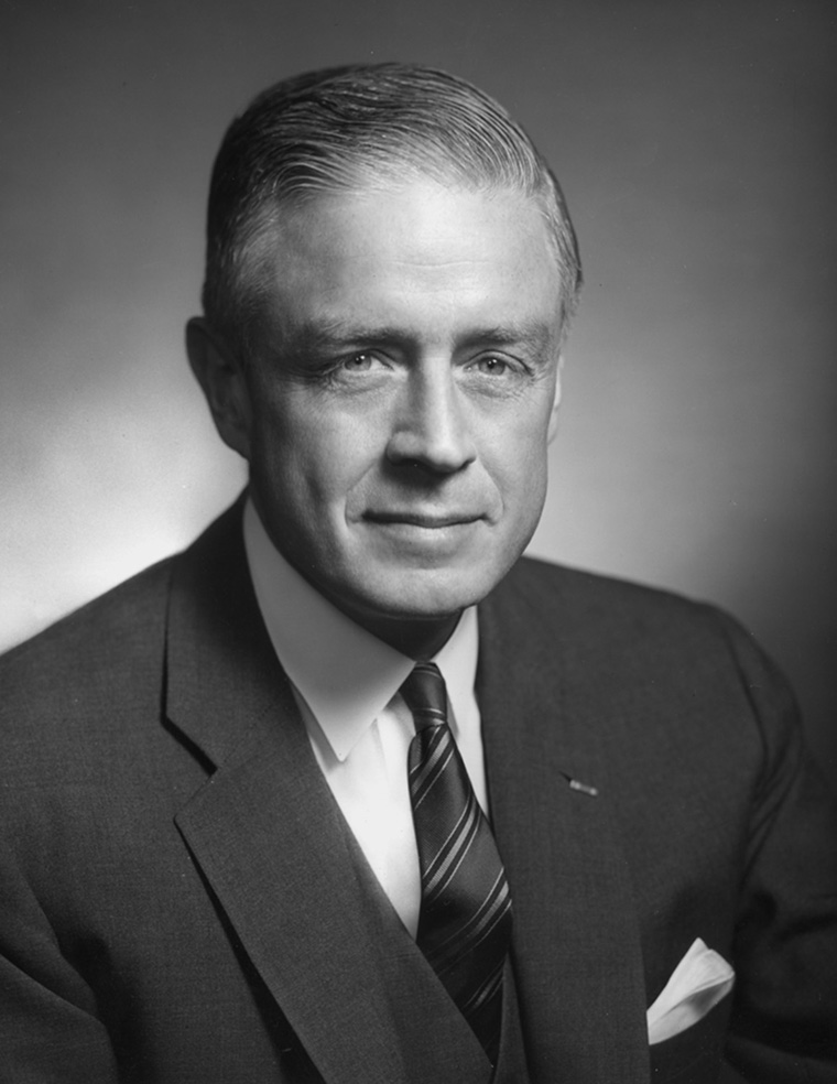 circa 1964:  A portrait of business executive Thomas J. Watson, Jr.. Watson was board chairman of the International Business Machines Corporation (IBM), and was elected president of the National council of the Boy Scouts of America.  (Photo by Hulton Archive/Getty Images)