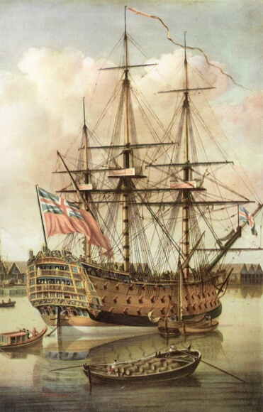 1757:  The British naval vessel Royal George lying off Deptford. She sank at Spithead in 1782 with the loss of around 800 lives. Original Artist: By John Cleveley the Elder.  (Photo by Henry Guttmann/Getty Images)