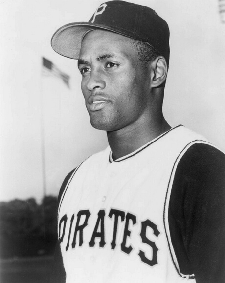 circa 1955:  Headshot of Puerto Rican baseball player Roberto Clemente of the Pittsburgh Pirates at a baseball field in uniform.  (Photo by Hulton Archive/Getty Images)