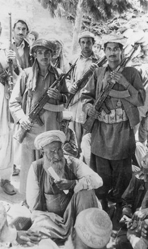 1980:  A group of armed Afghan guerrillas.  (Photo by Keystone/Getty Images)