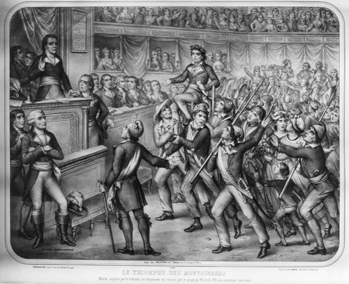 24th April 1793:  'The Triumph Of Montagnards', an engraving by Bernascom.  (Photo by Hulton Archive/Getty Images)
