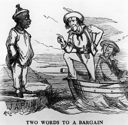 circa 1856:  A cartoon depicting a wrangle between Japan and America over free trade. Two Words To A Bargain. Japan:' We won't have Free Trade. Our ports are closed, and shall remain so'. America: 'Then we will open our ports, and convince you that you're wrong'.  (Photo by Hulton Archive/Getty Images)