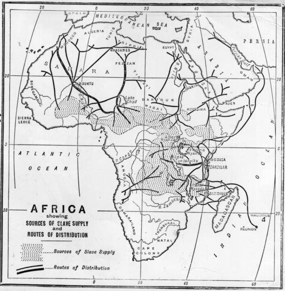 Slavery Rourtes circa 1880:  A map showing the sources of slave supply and routes of distribution.  (Photo by Hulton Archive/Getty Images)  -- Image Date: 01/01/1880  -- Image Date: 01/01/1880