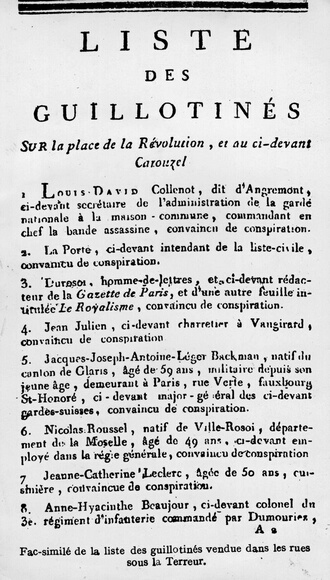 circa 1794:  A list of victims which was sold in the streets of Paris during the French Revolution, the anticlerical and republican  revolution in France from 1789 to 1799.  All those named on the list were guillotined, for 'conspiracy'.  (Photo by Hulton Archive/Getty Images)