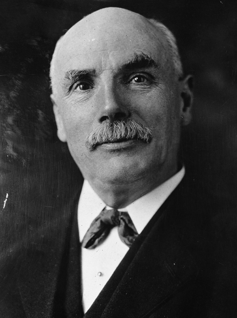 circa 1920:  Scottish trade union leader and statesman George Nicoll Barnes (1859 - 1940). Barnes, born in Lochee, Dundee, worked in various factories and shipyards before studying drawing and machine construction. He was drawn to Socialism by William Morris whose meetings he attended and stood as a Labour MP eventually winning the Blackfriars (Glasgow) seat. He worked to improve service pensions during World War I and after the war he was appointed First Minister of Pensions in Lloyd George's coalition government. When the coalition ended Barnes resigned from the Party but remained involved with the Treaty of Versailles and was responsible for the inclusion of the International Labour Organisation in the League of Nations.  (Photo by Hulton Archive/Getty Images)