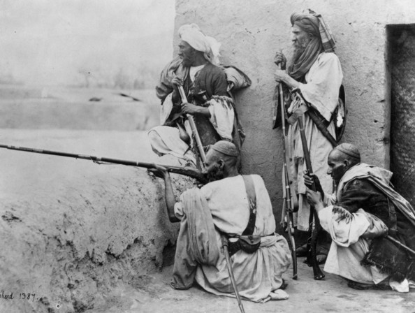 Armed Afghans-circa 1910:  A group of Afghans armed with rifles in the Khyber Pass.  (Photo by Harry Shepherd/Fox Photos/Getty Images)  -- Image Date: 01/01/1910  -- Image Date: 01/01/1910