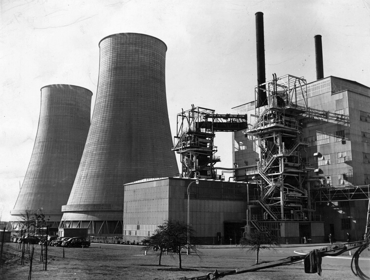 Power Station: 16th October 1956:  Cooling towers and reactor at the world's first full-scale atomic power station at Calder Hall, Windscale, Cumberland (now Cumbria), England. The station, which will use atomic energy to produce electricity for factories and homes in Britain, will have a total capacity of 92 Megawatts. The station later became known as Sellafield.  (Photo by Topical Press Agency/Getty Images)