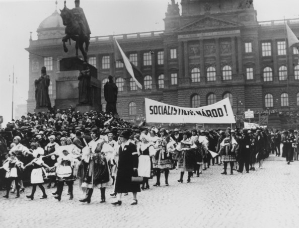 Prague Parade 1928:  May Day parade in Prague, Czechoslovakia, by the statue of St Wenceslas. A banner being carried reads 'Socialist Nation'.  (Photo by Three Lions/Getty Images)  -- Image Date: 01/01/1928  -- Image Date: 01/01/1928